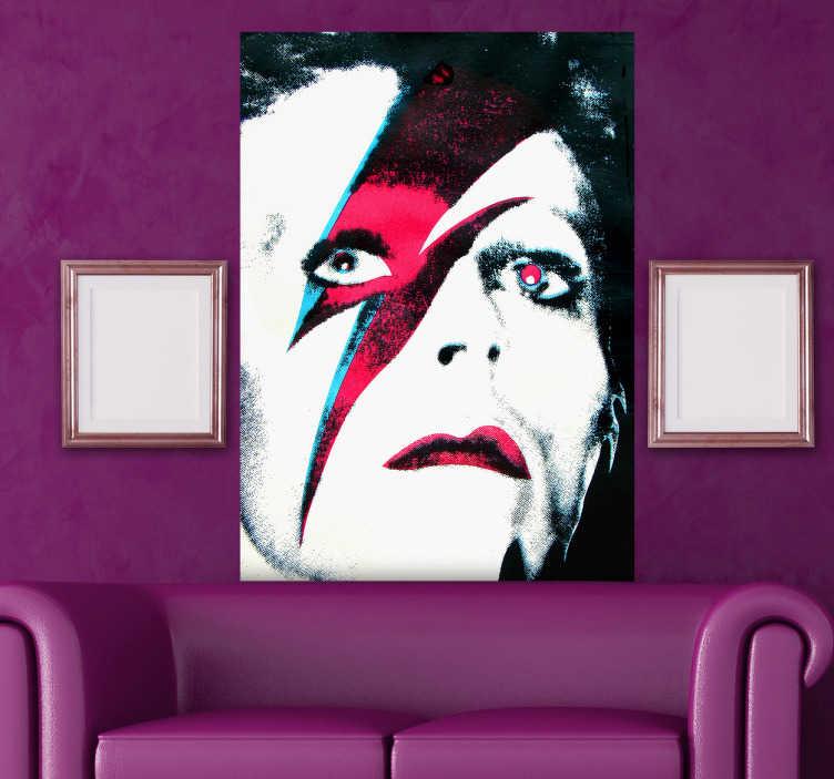 TenStickers. Sticker decorativo Ziggy Stardust. Adesivo murale che raffigura l'alter ego del celebre cantautore inglese David Bowie. Una decorazione per veri amanti della musica.