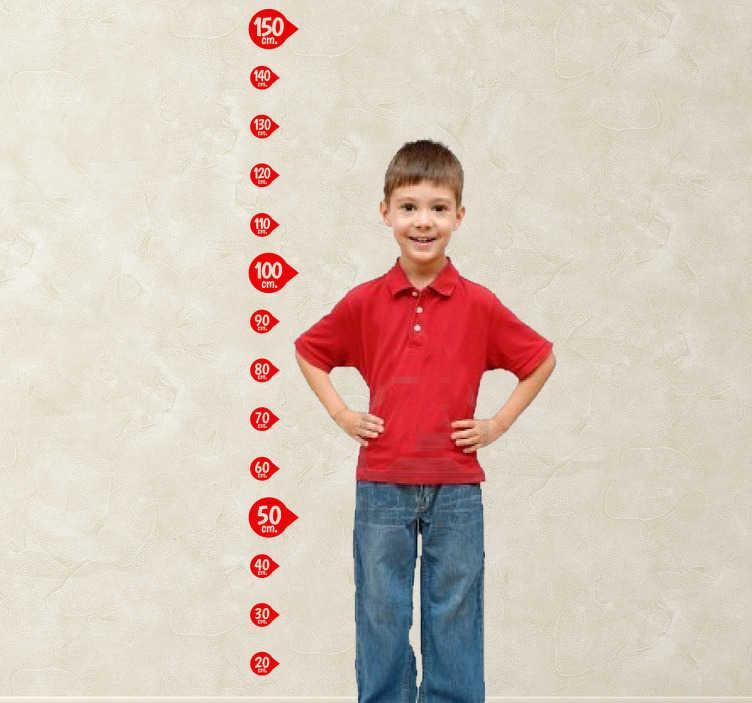 TenStickers. Sticker kinderen groeimeter. Hou de lengte van uw kinderen bij aan de hand van deze leuke groeimeter in de vorm van een muursticker.