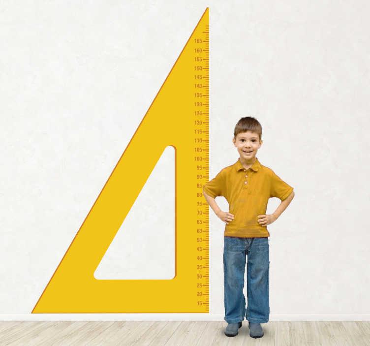 TenStickers. Kindersticker Meet triangel. Een leuke muursticker van een groeimeter voor kinderen in de vorm van een meetlat