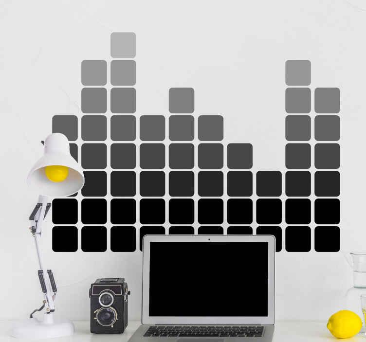 TenVinilo. Vinilo decorativo gráfico ecualizador. Adhesivo para la decoración de una habitación juvenil con el típico dibujo de un reproductor musical marcando los tonos más graves y más agudos de la canción que está sonando.