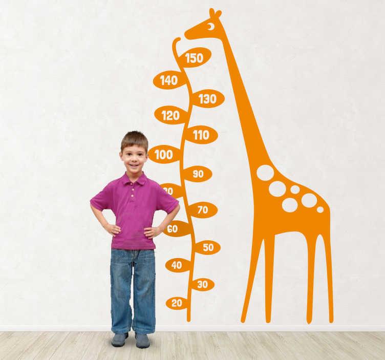 TenStickers. Giraffe Maßband Aufkleber. Eine Giraffe als Maßband. Mit diesem originellen Wandtattoo können Sie die Wand im Kinderzimmer dekorieren und Ihre Kinder messen.