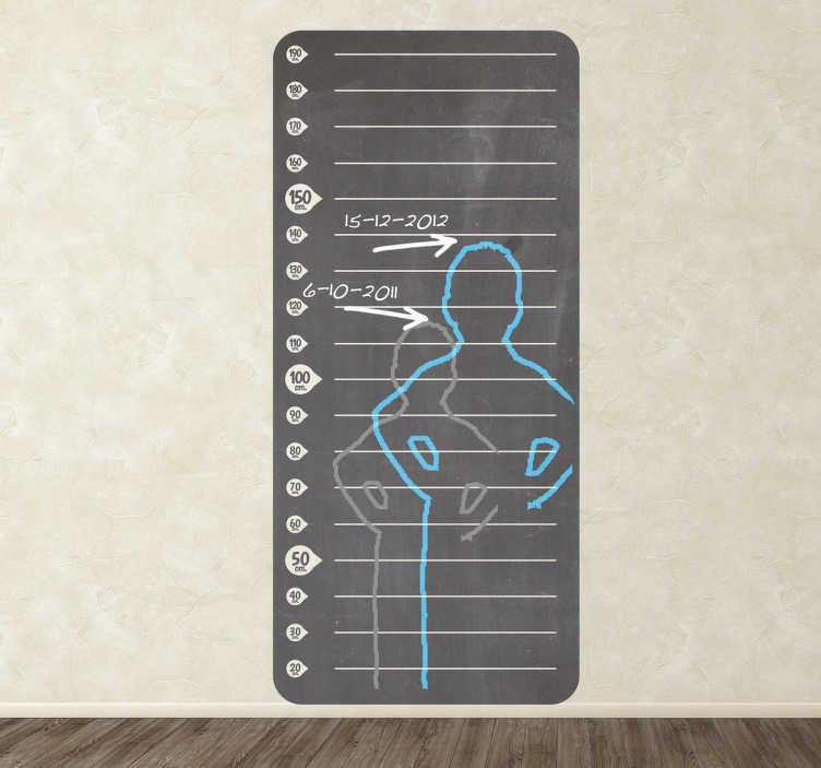 TenStickers. Sticker mesureur de hauteur en ardoise. Observez comment votre enfant grandit petit à petit avec ce stickers mesureur de hauteur en ardoise. Adhésif original crée par les équipes de Tenstickers.*Ce stickers a été conçu pour être déposé à 10 cm du sol afin d'éviter les plinthes.