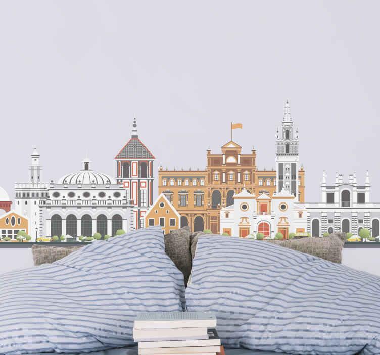 TenVinilo. Vinilo skyline monumentos de Sevilla. Vinilo skyline de los monumentos de Sevilla con su espectacular estructura. Es duradero, fácil de aplicar y está disponible en varios tamaños.