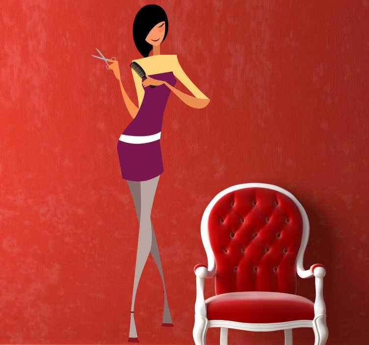 TenStickers. Naklejka fryzjerka. Naklejka dekoracyjna przedstawiająca postać smukłej fryzjerki trzymającej przybory fryzjerskie. Idealna dekoracja ścienna do pomieszczeń biznesowych.