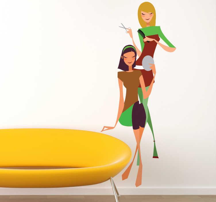 TenStickers. Sticker femmes salon de coiffure. Adhésif mural représentant une coiffeuse et sa cliente.Illustration faisant référence à l'univers de la beauté.