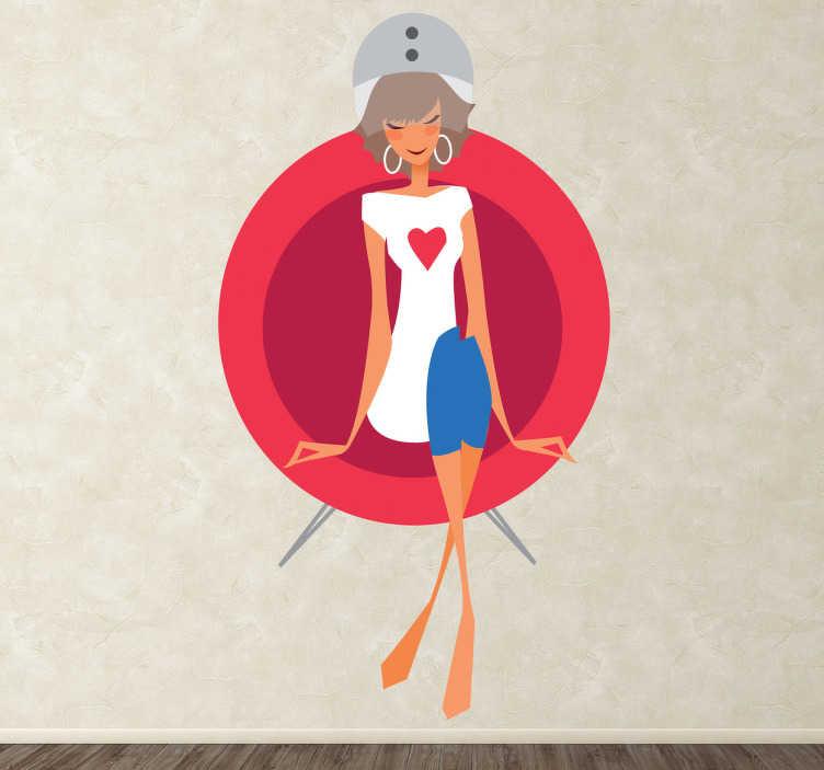 TenStickers. Sticker sechoir salon de coiffure. Adhésif mural représentant une femme sous un sèche cheveux. Illustration faisant référence à l'univers de la beauté.
