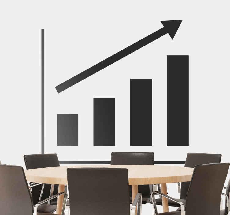 TenStickers. Sticker Grafiek stijgende lijn. Een muursticker van een grafiek met een stijgende lijn, leuk voor de decoratie van de vergaderzaal of van het kantoor.