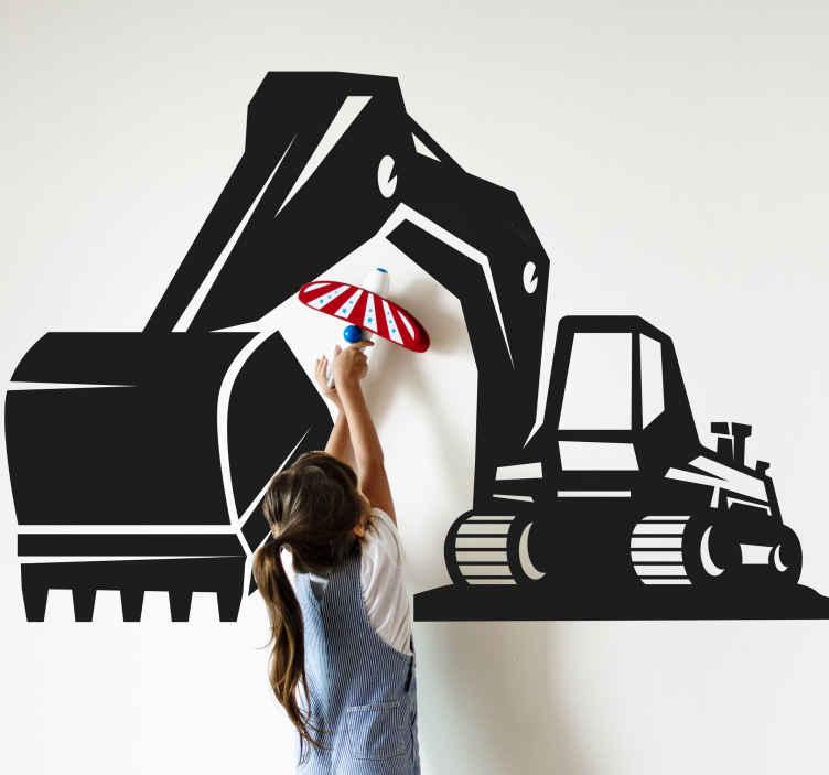 TENSTICKERS. 掘削機の大きな黒い子供の寝室の壁のステッカー. この大きな例示的な掘削機の壁のステッカーであなたの子供の部屋を飾り、面白い方法で部屋の外観を変えてください。