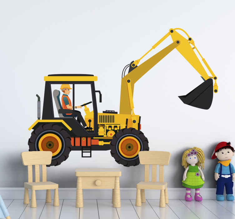 TENSTICKERS. 掘削機イエローブラックキッズベッドルームウォールステッカー. 子供たちの部屋やプレイルームを飾るための掘削機の美しくグラフィカルなウォールステッカーデザイン。それは高品質のビニールで作られ、簡単に適用できます。
