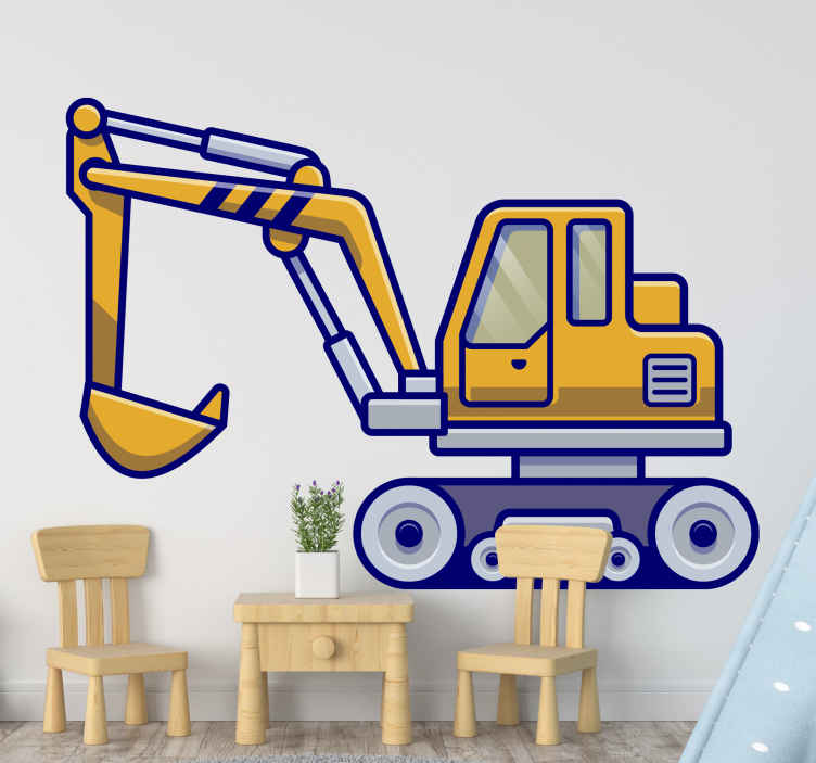 TENSTICKERS. 子供のための掘削機の典型的な黄色子供寝室の壁のステッカー. 子供の寝室のための装飾的な家の移し絵。男の子の子供の部屋やプレイルームを飾るための黄色の掘削機のデカールのイラスト。