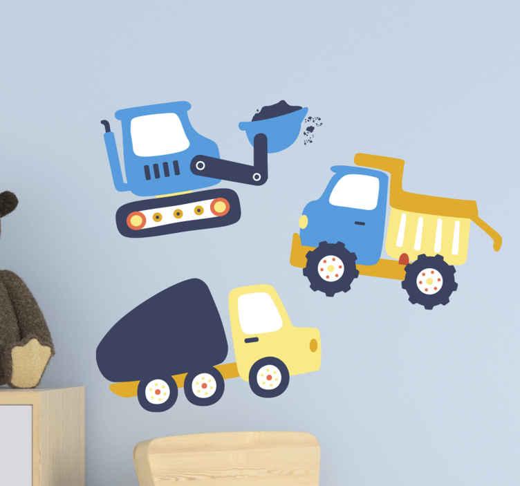 TENSTICKERS. バガーシンボルキッズキッズ寝室ウォールステッカー. 別のバガーイラストウォールステッカーデザイン。寝室用のこの驚くべき子供用建設車両と装備デカールであなたの子供を治療してください。