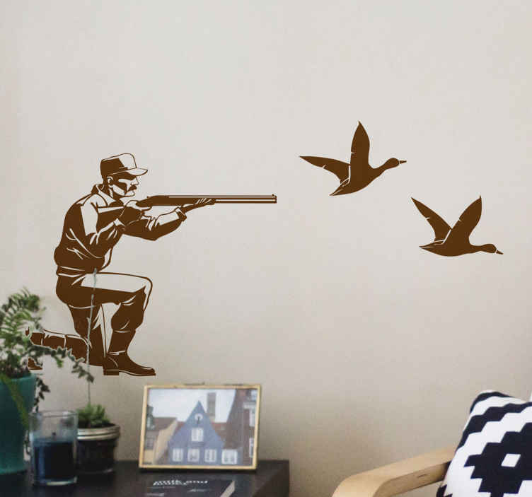 TENSTICKERS. 鳥の射撃ハンター鳥のステッカー. このモダンなハンティングの壁紙で、ユニークな外観であらゆる空間の外観を向上させます。ハンターシュートラインの2羽の鳥が描かれています。