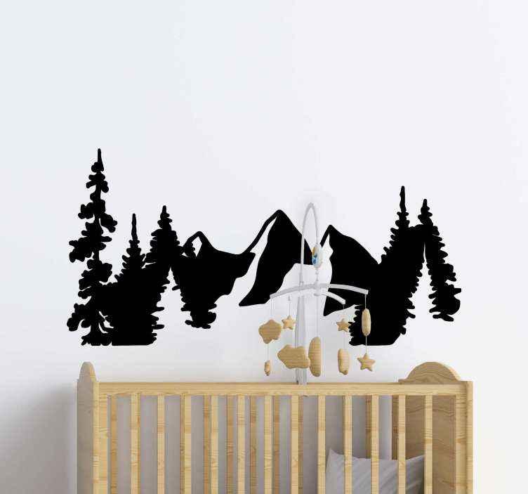 TENSTICKERS. 森と山のシルエットステッカー. 山と木のグループのシルエットが特徴の山のウォールステッカー。適用と取り外しが簡単です。高品質。