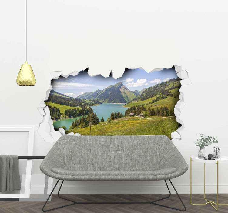 TENSTICKERS. 山と森の壁の涙のステッカー. 山、野原、森、川に覆われた風景を美しくイメージしたウォールステッカー。