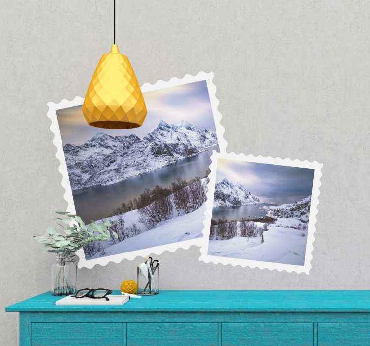 TENSTICKERS. 山の美しい風景自然ステッカー. スイスの山々の美しい風景の2つの画像と組み合わせたホームウォールステッカーは、あなたの家に調和のとれたタッチを与えます。