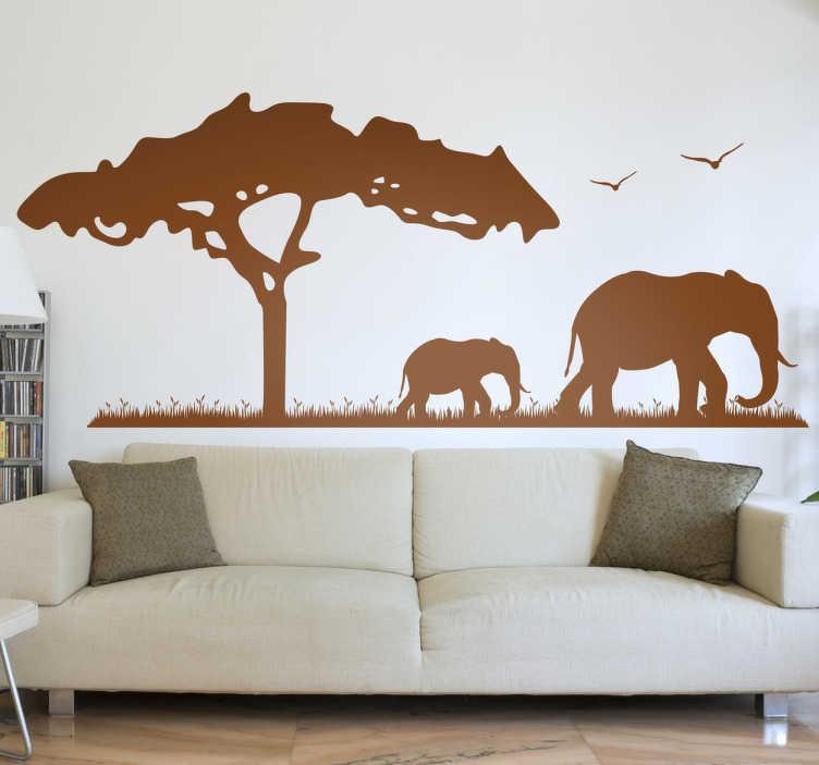 TenVinilo. Vinilo decorativo elefantes África. Vinilos adhesivos con la silueta de un típico árbol africano, un elefante y su cría.