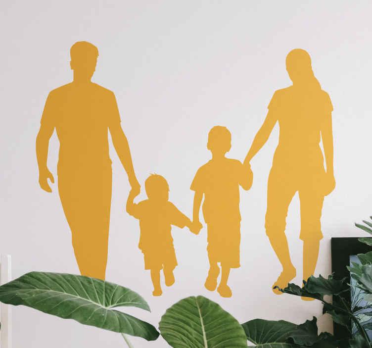 TENSTICKERS. 家具のための幸せな家族の移し絵. 壁や家具の幸せな家族イラストホームステッカー。デザインは、2人の子供を抱く男性と女性のシルエットをホストしています。