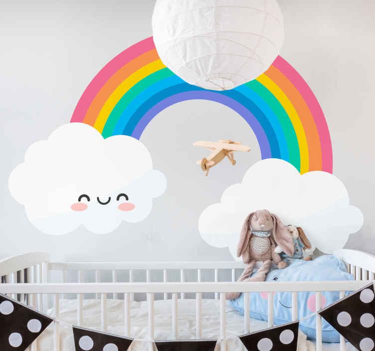 TENSTICKERS. 側面に雲のある虹漫画のウォールステッカー. カラフルで面白い虹と笑顔の雲の壁のステッカーのイラストで赤ちゃんの保育園や寝室を飾りましょう。