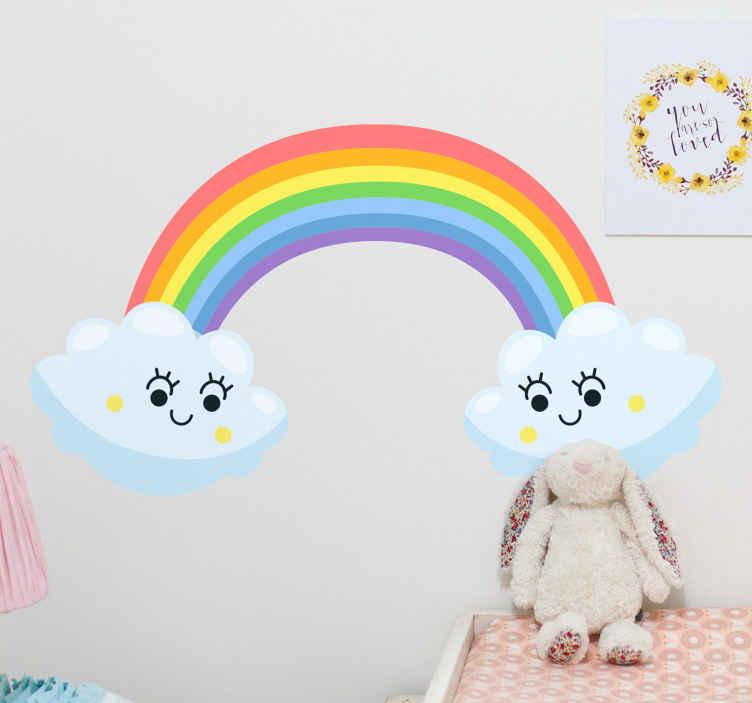 TENSTICKERS. お互いに見えるかわいい雲虹漫画デカール. 虹と雲の面白くて面白いイラストデカール。雲と虹のデザインは、笑顔の象徴的な表現で描かれています。