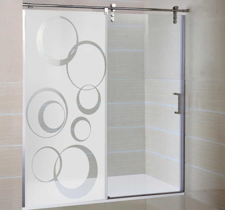 TenStickers. Circle Pattern Shower Sticker. Circle pattern design from our collection of modern wall stickers, shower sticker that provides privacy while still letting in lots of natural light.
