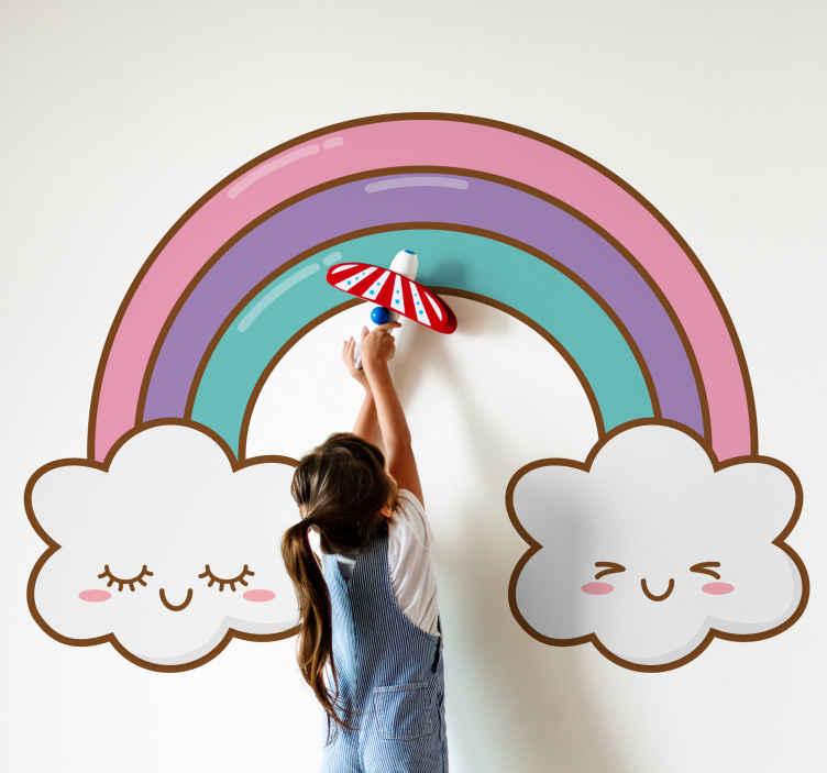 TENSTICKERS. 眠っている虹の雲漫画のウォールステッカー. この素晴らしい品質のビニールの子供の虹と雲のイラストデカールであなたの子供部屋や赤ちゃんの保育園スペースの外観と雰囲気を変えてください。