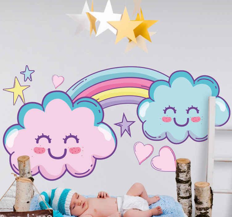 TENSTICKERS. ハートの漫画のウォールステッカーとかわいい虹の雲の笑顔. この驚くべきかわいい漫画の虹、ハートのデカールが付いた雲で、幼い子供や保育室の寝室をカスタマイズします。適用が簡単で耐久性があります。