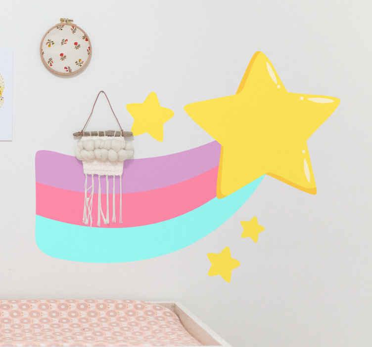 TENSTICKERS. 星と虹の漫画のウォールステッカー. 子供とティーンエイジャーの寝室の装飾のための星の漫画のステッカーイラストと虹。カスタマイズ可能で、適用が簡単で、取り外しが可能です。