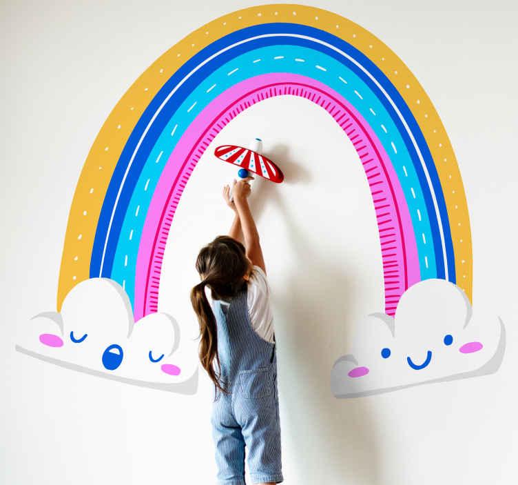 TENSTICKERS. 描かれた虹と雲の漫画のウォールステッカー. オリジナルの子供用レインボーイラストデカールを使用して、カラフルで楽しい効果で子供部屋の外観を明るくします。