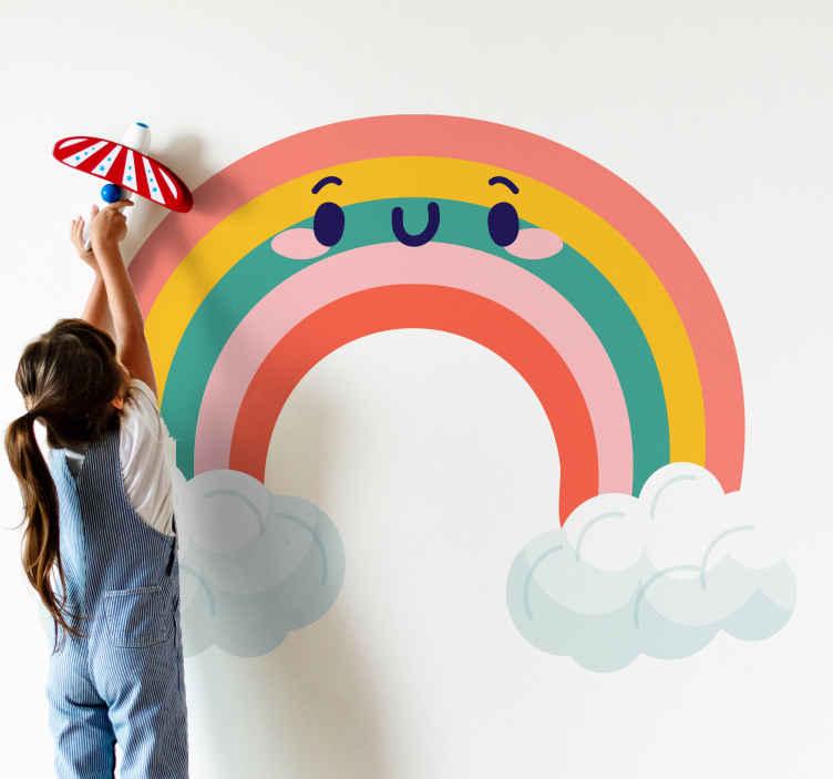 TENSTICKERS. かわいい雲虹笑顔漫画ウォールステッカー. 幼い子供の部屋、保育園、遊び場を美しくするカラフルな雲と虹のイラストデカール。それは耐久性があり、適用が簡単で、接着性があります。