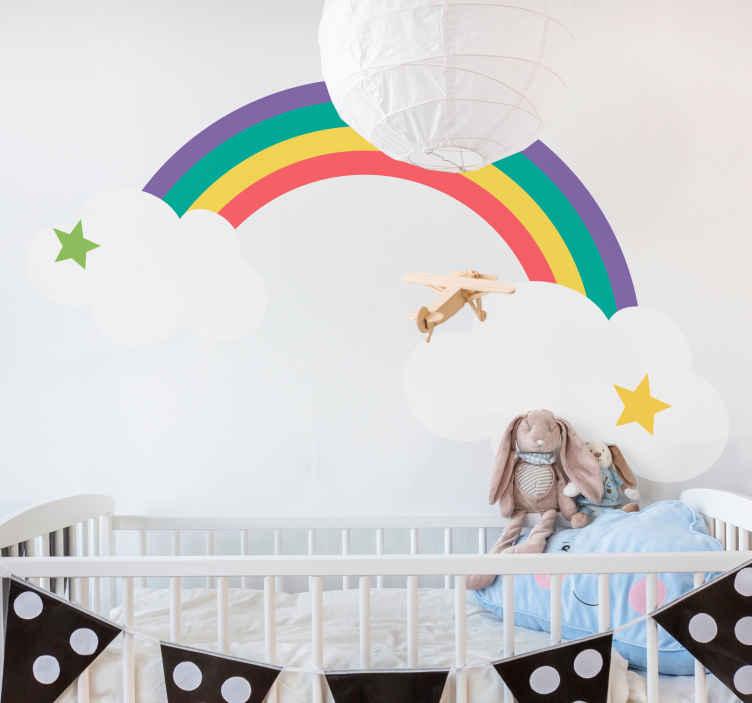 TenVinilo. Vinilo infantil arcoíris en nubes con estrellas. Vinilo para niños de dibujo de arco iris con nubes. Un diseño para transformar la habitación de tu pequeño de una forma interesante y alegre.