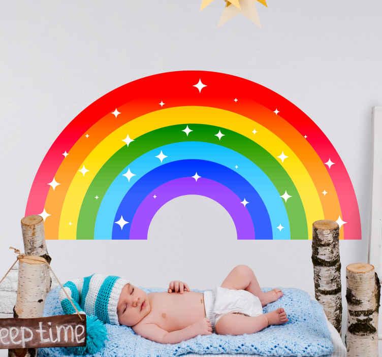 TENSTICKERS. 色あせたカラフルな虹の漫画のウォールステッカー. 子供の寝室の装飾のためのカラフルで見事な虹の壁のステッカー。さまざまなサイズで利用でき、カスタマイズ可能です。