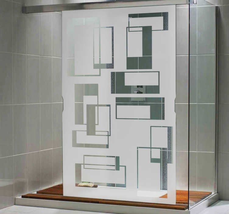 TenStickers. Viereck Glastür Aufkleber. Gib deiner Dusche einen neuen Look mit diesem modernen Design mit geometrischen Figuren. Dekoration und gleichzeitig ein Sichtschutz.
