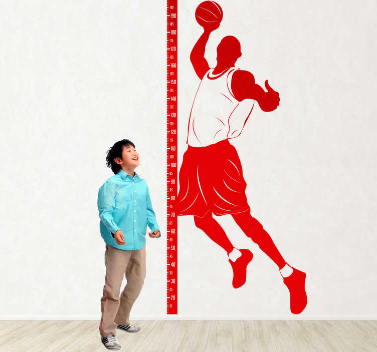 TenStickers. Basketballer Height Chart Kids Sticker. Kids Wall Stickers- Original design to help measure the growth of kids. Decals ideal for kids´bedrooms and play areas.