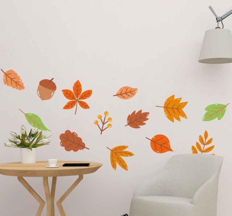 TENSTICKERS. 紅葉植物デカール. 今日あなたの家を自然で飾り、この自然の葉のウォールステッカーであなたの家に新鮮な新しい生活を与えてください。今日それを購入し、すぐに入手してください!