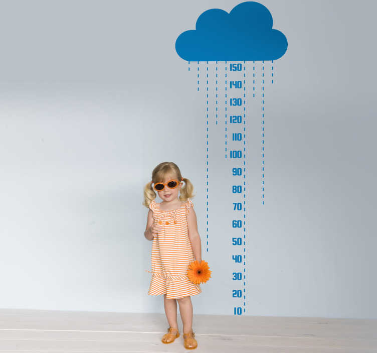 TenStickers. Naklejka miarka chmura. Ciekawa naklejka z rysunkiem chmury przeznaczona do mierzenia wzrostu.*Zaleca się umieszczenie naklejki 10 cm od podłogi w celu uniknięcia pomarszczeń.