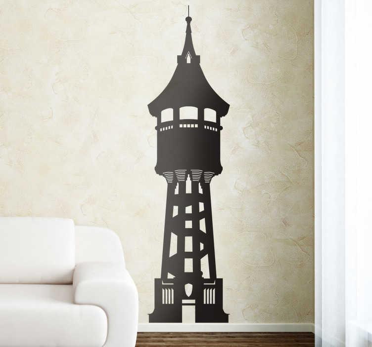TenVinilo. Vinilo decorativo torre aigua Sabadell. Silueta adhesiva del edificio más emblemático de la capital vallesana.