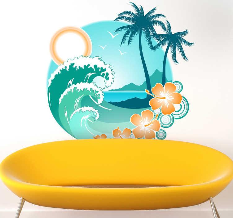 Adhesivo decorativo playa exótica