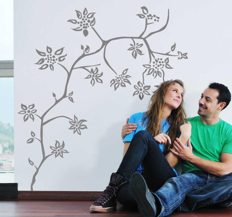 TENSTICKERS. 花茎の木の壁のステッカー. 花の壁のステッカー - スリム、花が咲く木の花のデザイン。あなたが選んだ部屋に春の美しさをもたらします。