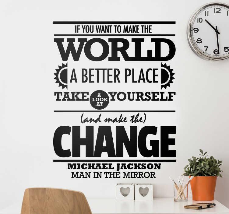 TenStickers. Naklejka dekoracyjna Man in the mirror. Naklejka dekoracyjna zawierająca nazwę singla Michaela Jacksona zatytułowanego Bad.
