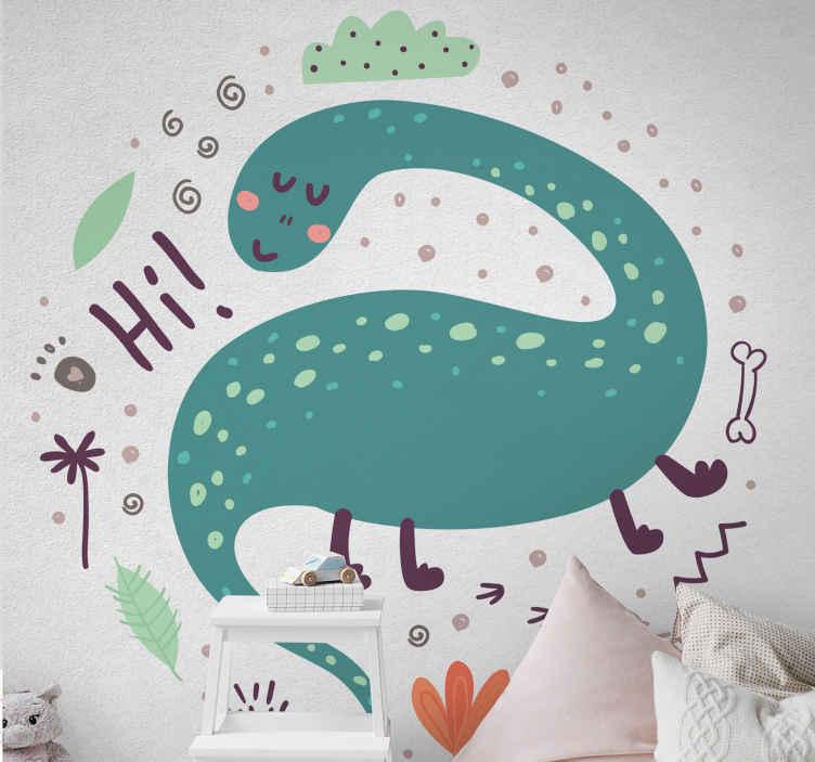 TenVinilo. Vinilo de dinosaurio estilo nórdico. ¡Llene a sus hijos de alegría hoy con este vinilo de dinosaurio saludando! ¡Consígalo en solo unos días si lo solicita hoy! ¡Envío exprés!