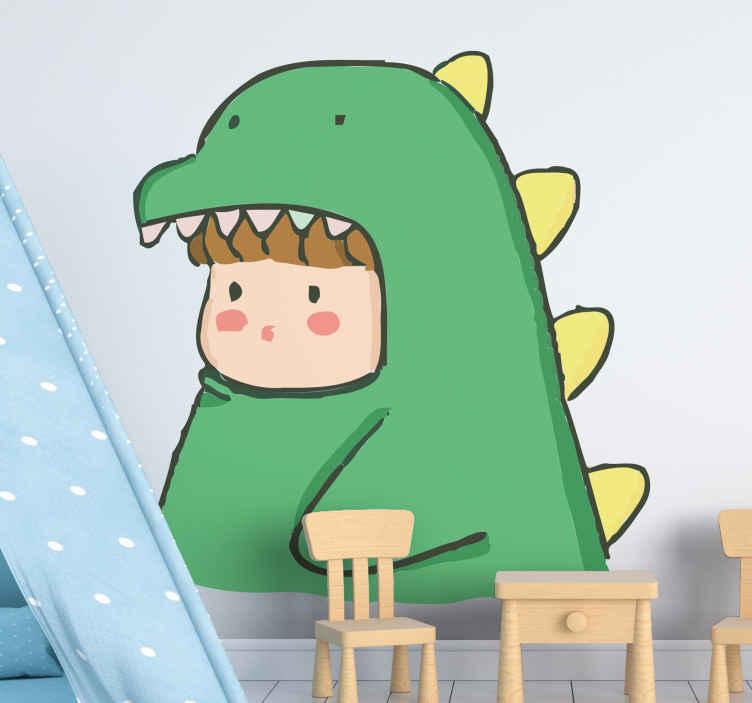 TENSTICKERS. 恐竜の衣装で人間かわいいドラゴンステッカー. 子供の寝室のための面白い動物のイラストの壁の装飾。デザインは恐竜の習慣の人間を示しています。カスタマイズ可能でオリジナルです。