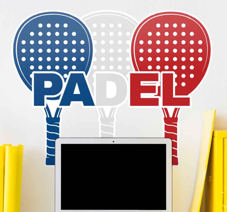 Image of Adesivo murale sport Racchetta da paddle bianca, blu e rossa