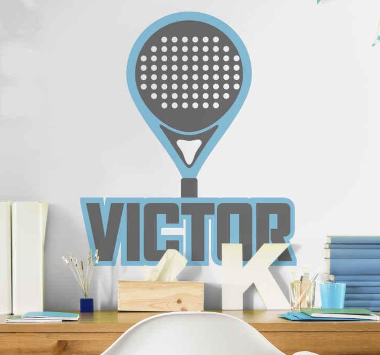 Image of Adesivo murale sport Racchetta paddle blu con nome