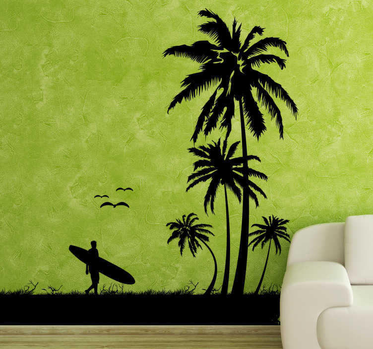 TenStickers. Autocolante decorativo surfista praia tropical. Autocolante decorativo ilustrando a silhueta de um surfista numa praia tropical, com palmeiras, animais e segurando a sua prancha de surf.