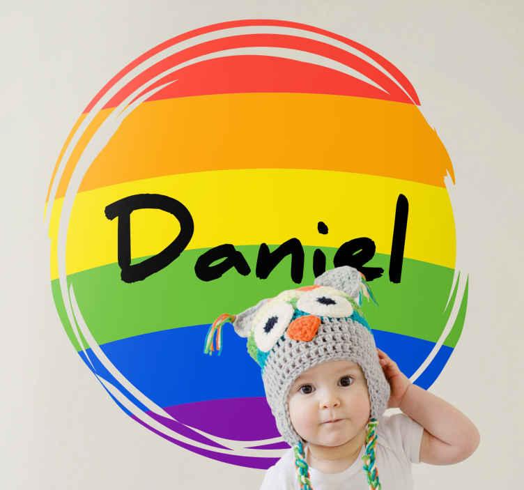 TenVinilo. Vinilo para niños con nombre círculo arcoíris. Bonito vinilo para niños con dibujo de arco iris para dormitorio. Diseño de círculo con arcoíris en el que puedes personalizar el nombre