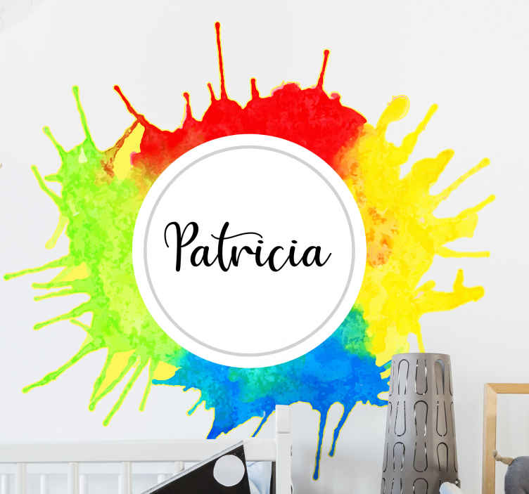 TenVinilo. Vinilo con nombre salpicaduras pintura. Vinilo con nombre de arco iris de nombre personalizado para personalizar el la habitación de los niños ¡Envío exprés a domicilio!
