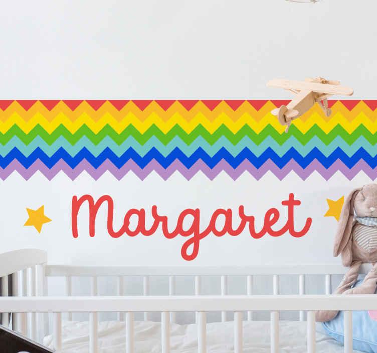 TENSTICKERS. ジグザグパーソナライズされた虹の壁の装飾. このパーソナライズされたジグザグのレインボーウォールステッカーで、特に子供のために寝室のスペースをパーソナライズしてください。それは耐久性があり、接着性があり、適用が簡単です。