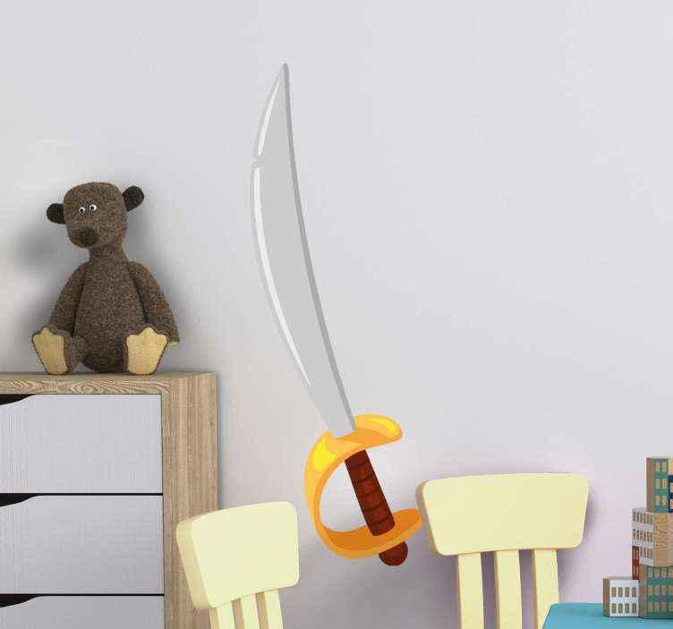 TENSTICKERS. 漫画の剣オブジェクトウォールステッカー. 家の中のあらゆるスペースを飾るための装飾的な剣オブジェクトイラストデカール。子供部屋や家の中の他の部屋に適しています。