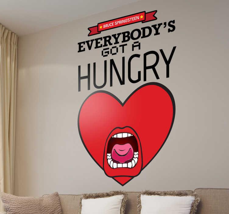 """TenStickers. Vinil decorativo hungry heart. Adesivo de parede da canção """"Hungry Heart"""" de Bruce Springsteen. Vinil decorativo para fãs."""