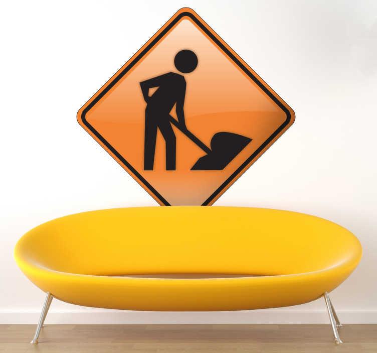 TENSTICKERS. 仕事のサインのステッカーの男性. 特定の地域で働く男性がいることを皆に警告する看板のステッカー。建設が行われているときに不可欠なビジネスステッカーです。